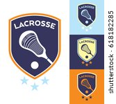 a set of lacrosse sports crests ... | Shutterstock .eps vector #618182285