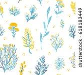 vector hand drawn wild plants... | Shutterstock .eps vector #618183449