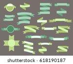 set of green vintage ribbons... | Shutterstock . vector #618190187