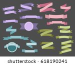 set of light colored vintage... | Shutterstock . vector #618190241