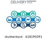 delivery mechanism concept.... | Shutterstock .eps vector #618190391
