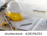 the safety helmet and the... | Shutterstock . vector #618196331