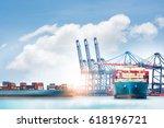 logistics and transportation of ... | Shutterstock . vector #618196721