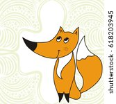 cute cartoon fox and abstract... | Shutterstock .eps vector #618203945