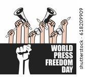 world press freedom illustration   Shutterstock .eps vector #618209909