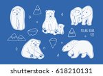 set with different white polar... | Shutterstock .eps vector #618210131