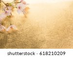 cherry blossoms and gold paper... | Shutterstock . vector #618210209