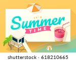summer vacation template on... | Shutterstock .eps vector #618210665