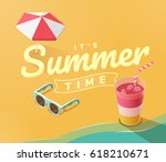 summer vacation template with... | Shutterstock .eps vector #618210671