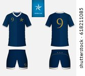 set of soccer kit or football... | Shutterstock .eps vector #618211085