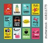 vector summer cards templates.... | Shutterstock .eps vector #618211775