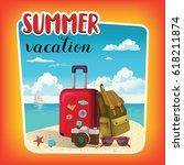 summer vacation template poster ... | Shutterstock .eps vector #618211874