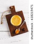 flat lay view of golden latte... | Shutterstock . vector #618215471