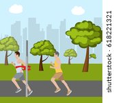 race in park. the winner... | Shutterstock .eps vector #618221321