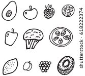 lineout fruit and vegetable... | Shutterstock .eps vector #618222374
