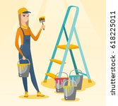 caucasian house painter holding ... | Shutterstock .eps vector #618225011
