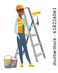 african american house painter... | Shutterstock .eps vector #618226061