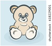 teddy bear toy  smiling for...   Shutterstock .eps vector #618229001