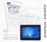 architect drew plan of building ...   Shutterstock .eps vector #618230525