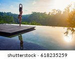 good morning with yoga... | Shutterstock . vector #618235259