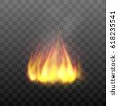 realistic bright blazing... | Shutterstock .eps vector #618235541