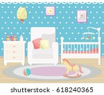 baby room interior. flat design....   Shutterstock .eps vector #618240365
