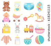 baby flat icons set.  | Shutterstock .eps vector #618241115