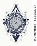 brain and labyrinth tattoo art. ...   Shutterstock .eps vector #618263714