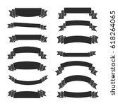 black ribbon banners set.... | Shutterstock .eps vector #618264065