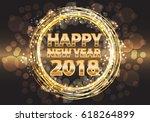 happy new year 2018 gold luxury ... | Shutterstock .eps vector #618264899