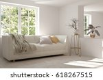 white room with sofa and green... | Shutterstock . vector #618267515