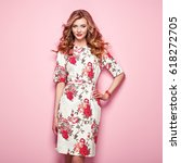 blonde young woman in floral... | Shutterstock . vector #618272705
