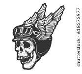 racer skull in winged helmet... | Shutterstock .eps vector #618273977