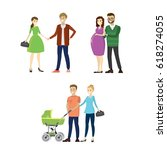 set three lovers couples. young ... | Shutterstock .eps vector #618274055