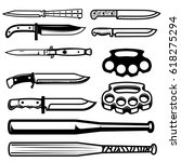 set of gangsta weapon. knives ...   Shutterstock .eps vector #618275294