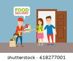 delivery man with grocery food... | Shutterstock .eps vector #618277001