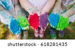 hands   palms of young people... | Shutterstock . vector #618281435