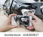car crash accident damaged with ... | Shutterstock . vector #618283817
