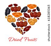 dried fruits heart poster of... | Shutterstock .eps vector #618285365