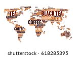 coffee and tea or hot drinks... | Shutterstock .eps vector #618285395