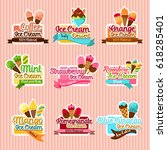 ice cream stickers. ice cream... | Shutterstock .eps vector #618285401
