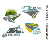 travel trip icons set of roads... | Shutterstock .eps vector #618285731