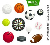 sport balls vector icons.... | Shutterstock .eps vector #618285785