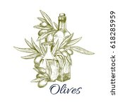 sketch olives and olive oil... | Shutterstock .eps vector #618285959