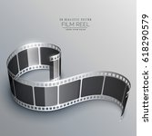 realistic 3d film strip vector... | Shutterstock .eps vector #618290579