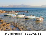 boats on the mediterranean coast | Shutterstock . vector #618292751