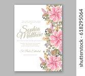 peony wedding invitation... | Shutterstock .eps vector #618295064