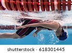 woman swimming pool she turning ... | Shutterstock . vector #618301445