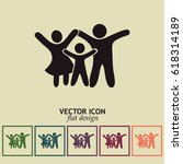 happy family icon | Shutterstock .eps vector #618314189