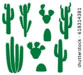 cactus vector collection  set  | Shutterstock .eps vector #618314381